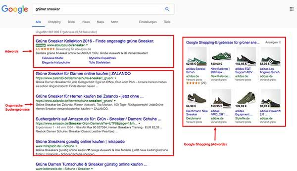 Google organische Suchtreffer