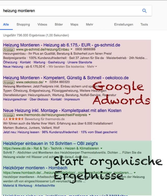 Google SEO und SEA Anzeigen
