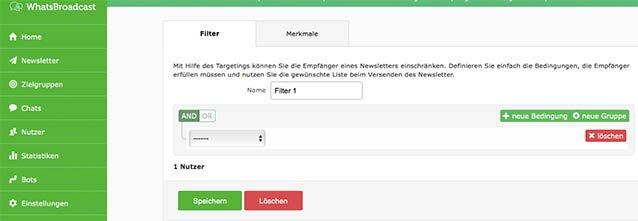 Messenger Dienst Filter