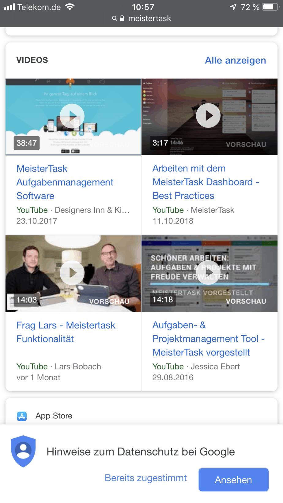 Videoanordnung Raster bei Google