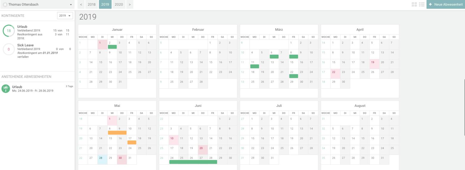 absence Kalender Urlaub