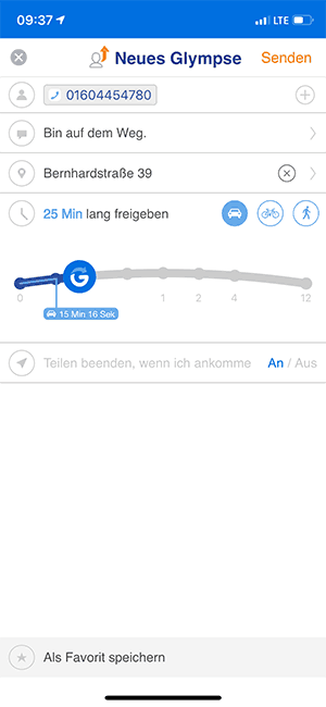 Glympse Eingabefeld App