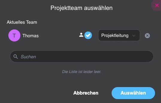 Projektteam zusammenstellen